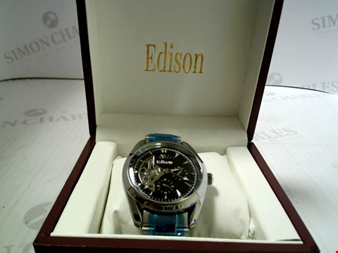 Lot 7162 DESIGNER EDISON AUTOMATIC MOONPHASE WATCH, STAINLESS STRAP RRP £600.00