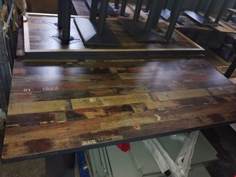 Lot 73 BRAND NEW RUSTIC LOOK CAFE STYLE DINING TABLE WITH DECAL OVERLAY APPROXIMATELY 200X95CM