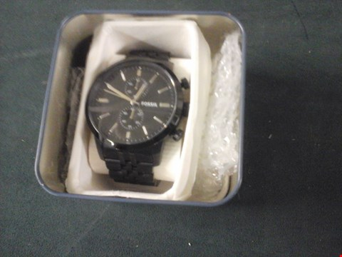 Lot 10 BOXED FOSSIL GENTS TOWNSMAN BLACK FACE 3 HAND WRIST WATCH RRP £219