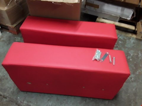 Lot 2006 PAIR OF RED FAUX LEATHER SOFA ARMS