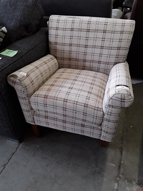 Lot 2 DESIGNER BALMORAL NATURAL/BROWN FABRIC ACCENT ARM CHAIR RRP £540