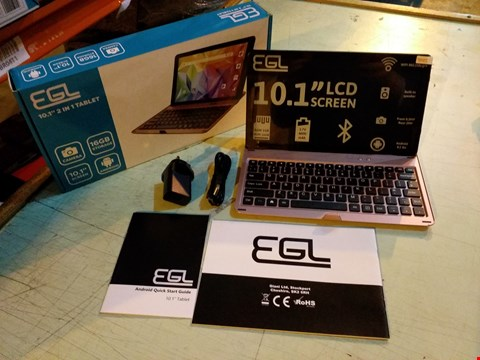 """Lot 6115 BOXED EGL 10.1"""" 1GB RAM, 16GB STORAGE ANDROID TABLET WITH KEYBOARD ACCESSORY - ROSE GOLD"""