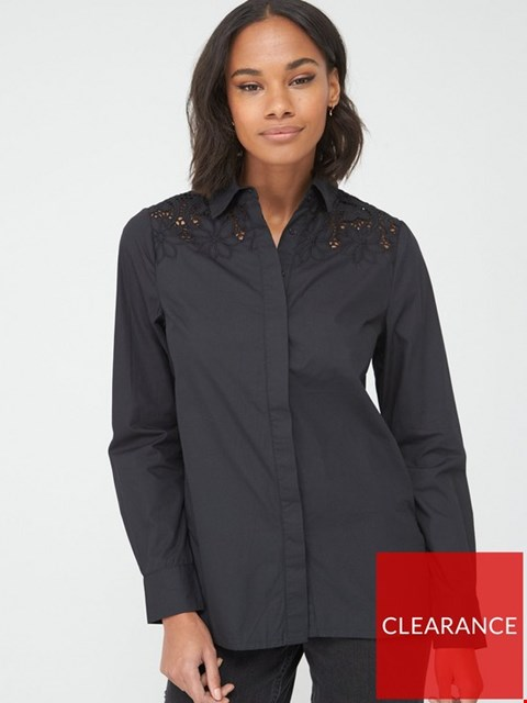Lot 7021 BRAND NEW V BY VERY LACE YOKE COTTON SHIRT - BLACK SIZE 6
