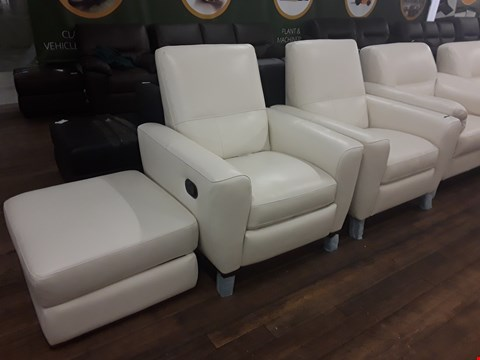 Lot 159 BRAND NEW QUALITY DESIGNER ITALIAN CREAM LEATHER POWER RECLINING ARMCHAIR, MANUAL RECLINING ARMCHAIR AND STORAGE FOOTSTOOL