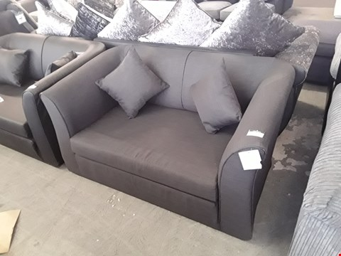 Lot 73 DESIGNER CHARCOAL FABRIC FOLD OUT COMPACT 2 SEATER SOFA BED