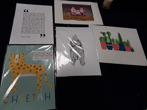 Lot 56 LOT OF APPROXIMATELY 23 ASSORTED ART PRINTS AND POSTERS INCLUDING CACTI, CHEETAH ETC