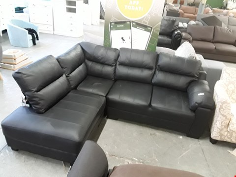 Lot 26 DESIGNER BLACK FAUX LEATHER 3 SEATER CORNER SOFA