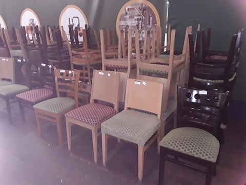 Lot 74 APPROXIMATELY 5 ASSORTED PATTERNED FABRIC WOODEN CHAIRS