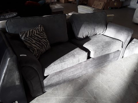 Lot 11 DESIGNER GREY FABRIC THREE SEATER SOFA