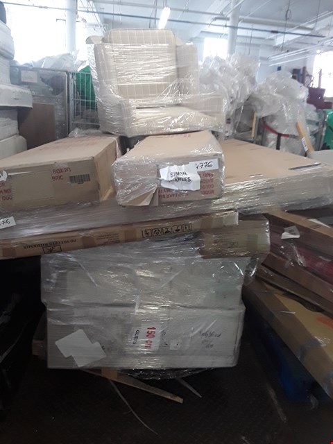 Lot 11097 PALLET OF ASSORTED FLAT PACK FURNITURE PARTS AND FURNITURE ITEMS TO INCLUDE CREAM CRUSHED VELVET DIVAN BASES, A DESIGNER SMALL BEIGE/WHITE ARMCHAIR, A 5' AQU/AKR BED BOX COMPLETE ETC