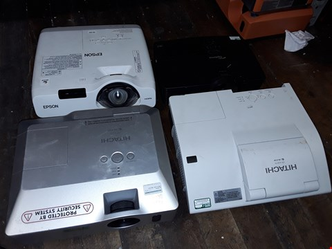Lot 4611 LOT OF 4 ASSORTED PROJECTORS TO INCLUDE HITACHI CP-X205 AND EPSON EB-520