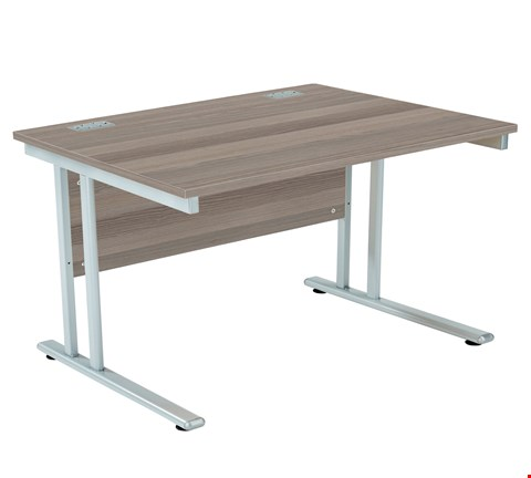 Lot 77 BRAND NEW BOXED FRACTION 2 RECTANGULAR 120 DESK - GREY OAK WITH SILVER FRAME RRP £241.00