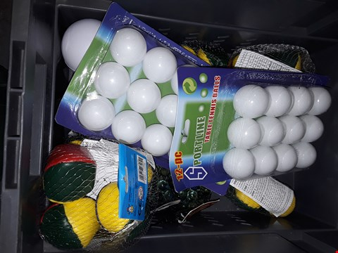 Lot 569 BOX OF ASSORTED TOYS TO INCLUDE  ) TABLE TENNIS BALLS , WATER BOULES & MORE
