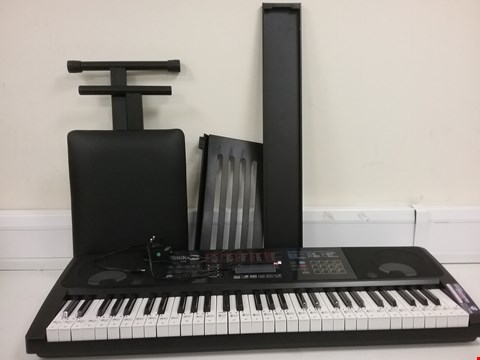 Lot 3182 BOXED ROCKJAM RJ761-SK KEY ELECTRONIC INTERACTIVE TEACHING PIANO KEYBOARD WITH STOOL