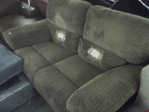 Lot 91 DESIGNER CORDED BROWN FABRIC 2 SEATER RECLINER SOFA