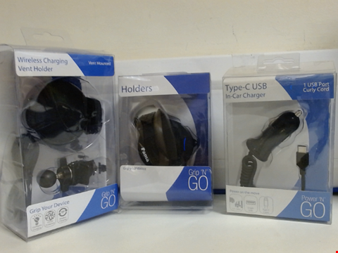 Lot 5347 LOT OF ASSORTED TECH ITEMS TO INCLUDE IN CAR CHARGER, PHONE HOLDER AND WIRELESS CHARGING VENT HOLDER