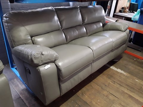 Lot 37 DESIGNER GREY LEATHER MANUAL RECLINING THREE SEATER SOFA WITH CONTRAST DETAIL STITCHING