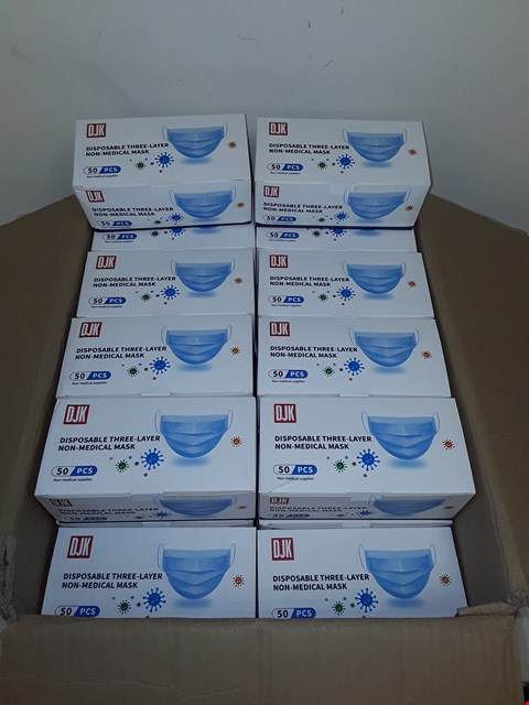 Lot 8025 LOT OF 2500 DISPOSABLE THREE-LAYER NON-MEDICAL FACE MASKS (50 BOXES OF 50)