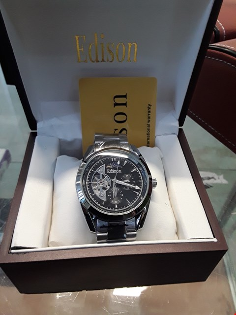 Lot 16 BRAND NEW DESIGNER EDISON WHITE METAL AUTOMATIC MOONPHASE WRISTWATCH  RRP £600.00