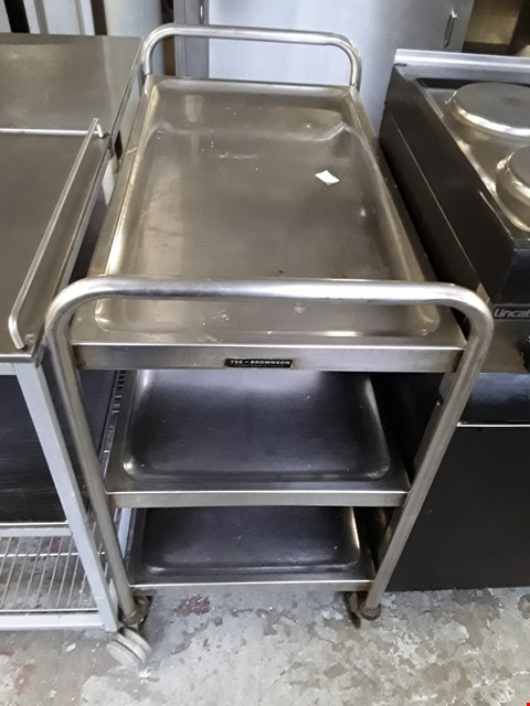 Lot 12 COMMERCIAL STAINLESS STEEL WHEELED SERVING TROLLEY