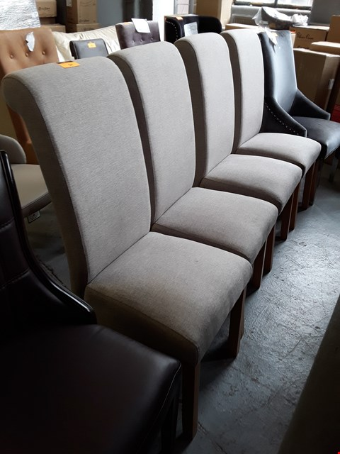 Lot 94 SET OF FOUR DESIGNER GREY FABRIC UPHOLSTERED DINING CHAIRS ON OAK LEGS