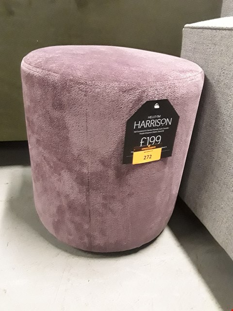 Lot 272 QUALITY BRITISH DESIGNER HARRISON TALL DRUM FOOTSTOOL UPHOLSTERED IN PURPLE EMPEROR FABRIC RRP £199