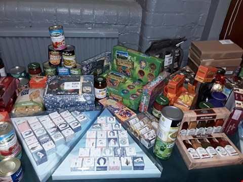 Lot 2553 LARGE QUANTITY OF ASSORTED FOOD ITEMS TO INCLUDE I'M A CELEBRITY BUSH TUCKER TRIAL CHALLENGE  MRS BRIDGE'S PLOUGHMANS SET, CADBURY DOUBLE DECK SELECTION BOX AND HOT SAUCES GIFT SET ECT