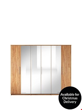 Lot 7334 BOXED GRADE 1 PRAGUE OAK-EFFECT 6-DOOR WARDROBE (3OF4 BOXES ONLY) RRP £549.99