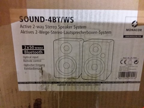 Lot 423 MONACOR SOUND-4BT/WS ACTIVE 2-WAY STEREO SPEAKER SYSTEM