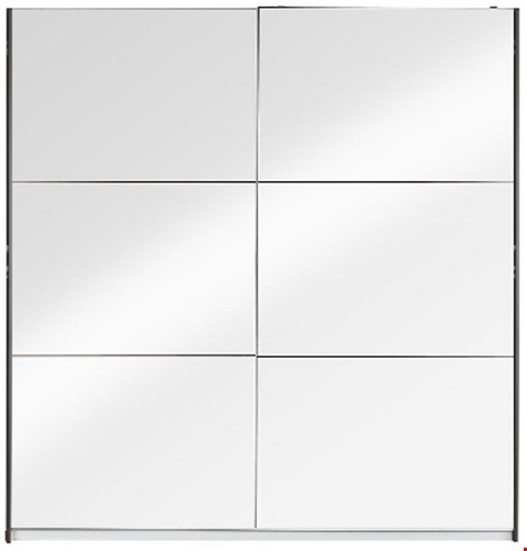 Lot 7092 BOXED GRADE 1 UNIVERSAL WHITE/MIRROR SLIDING WARDROBE (4 BOXES)
