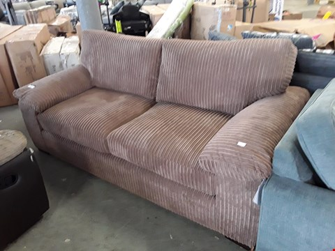 Lot 343 DESIGNER BROWN JUMBO CORD 3 SEATER SOFA
