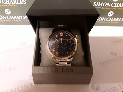 Lot 64 GUESS BLUE SUNRAY AND ROSE GOLD DETAIL CHRONOGRAPH DIAL TWO TONE STAINLESS STEEL BRACELET MENS WATCH  RRP £220.00