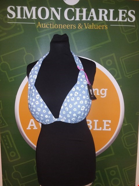Lot 7084 BRAND NEW V BY VERY MIX & MATCH PADDED PUSH UP HALTER BIKINI TOP - BLUE/FLORAL SIZE 8