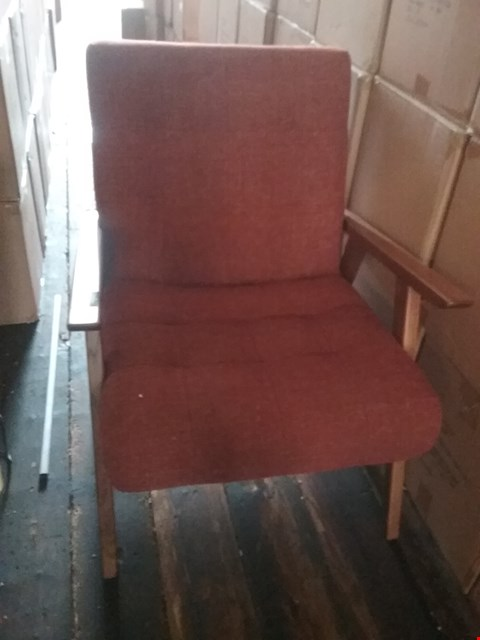 Lot 4019 DESIGNER RED FABRIC AND OAK ARM CHAIR