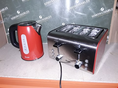 Lot 4296 SWAN SK13151R STAINLESS STEEL KETTLE & ST70130R 4-SLICE TOASTER TWIN PACK - RED