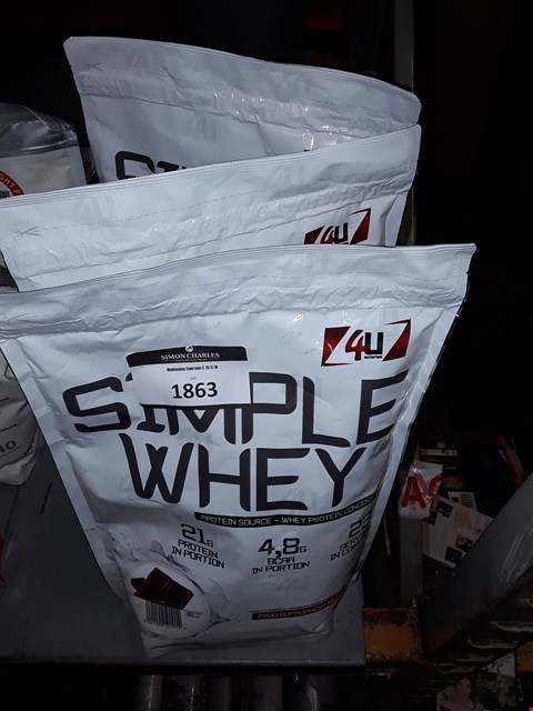 Lot 1863 3X 4U SIMPLE WHEY WHEY PROTEIN CONCENTRATE 700G , 2 CHOCOLATE,  1 WHITE CHOCOLATE FLAVOUR