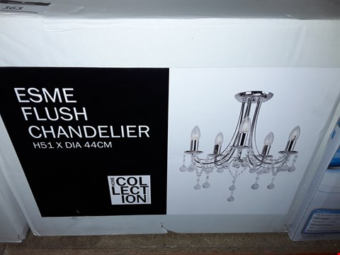 Lot 363 BOXED HOME COLLECTION ESME FLUSH CHANDELIER