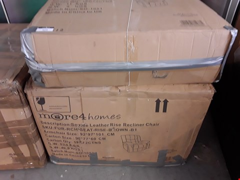 Lot 325 DESIGNER BOXED SEATTLE BROWN LEATHER RISE AND RECLINE ARMCHAIR (2 BOXES) RRP £599.00