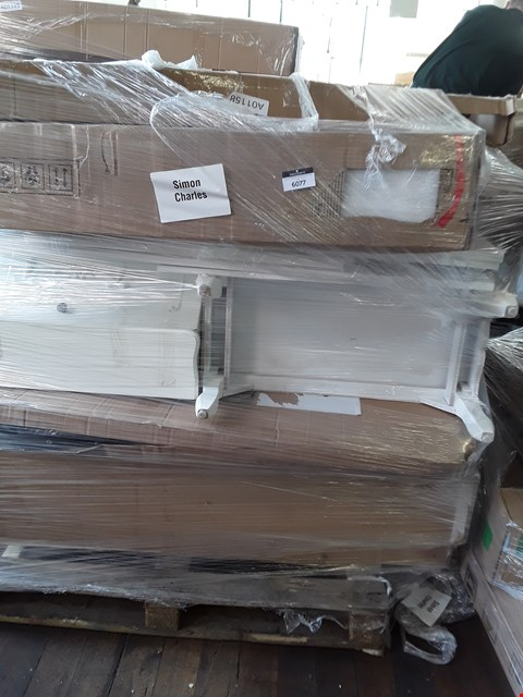 Lot 363 PALLET OF ASSORTED FLAT PACK FURNITURE PARTS TO INCLUDE A DESIGNER WHITE ORNATE THREE DRAWER SIDE CABINET, THREE DOOR THREE DRAWER WARDROBE PARTS ETC