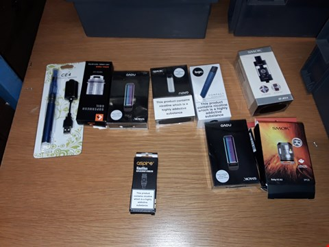 Lot 8133 A BOX OF APPROXIMATELY 10 ASSORTED E CIGARETTE ACCESSORIES TO INCLUDE,  CE4 ELECTRONIC CIGARETTE,  SMOK BABY V2 A3 3PCS AND ASPIRE NAUTILUS REPLACEMENT ATOMIZER ETC