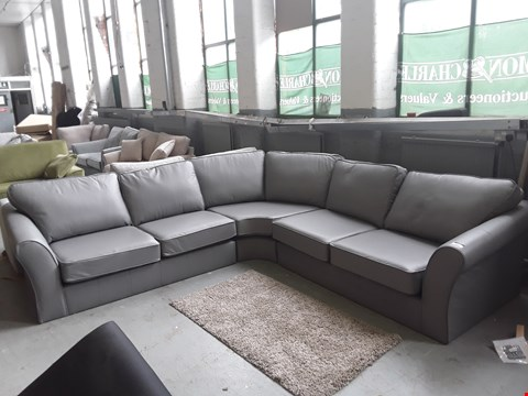 Lot 43 QUALITY BRITISH DESIGNER GREY LEATHER LARGE CORNER SOFA