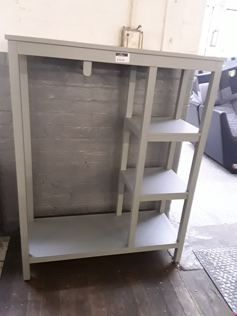 Lot 12123 DESIGNER GREY PAINTED SHELVING/HANGING UNIT