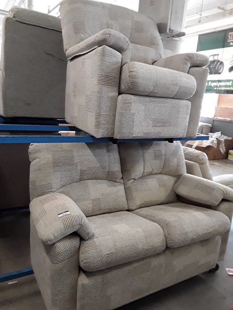 Lot 1018 QUALITY BRITISH MADE, HARDWOOD FRAMED BEIGE PATTERNED FABRIC 2 SEATER SOFA AND ARMCHAIR