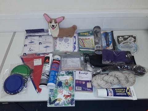 Lot 8065 LOT OF ASSORTED HOUSEHOLD ITEMS TO INCLUDE PENCIL CASE, ADHESIVES, EXERCISE EQUIPMENT