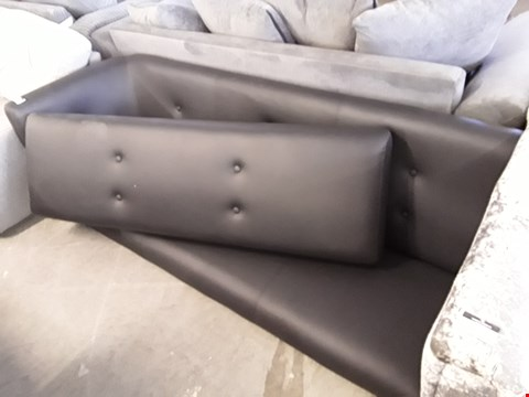 Lot 15 DESIGNER BLACK FAUX LEATHER BENCH SEAT AND BACKLESS BENCH