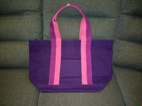 Lot 9141 BOX OF 7 JAZZI LONDON CANVAS TOTE BAGS IN PURPLE
