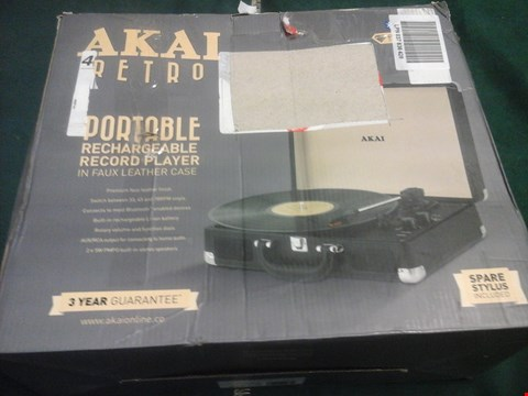 Lot 1029 BOXED AKAI RETRO PORTABLE RECHARGEABLE RECORD PLAYER