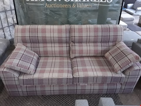 Lot 60 QUALITY BRITISH MADE STAMFORD HIGH BACK SOFA IN RED CHECK