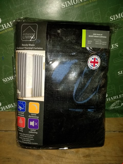 Lot 7009 ENHANCED LIVING READY MADE BLACKOUT THERMAL CURTAINS APPROXIMATELY 229X229CM