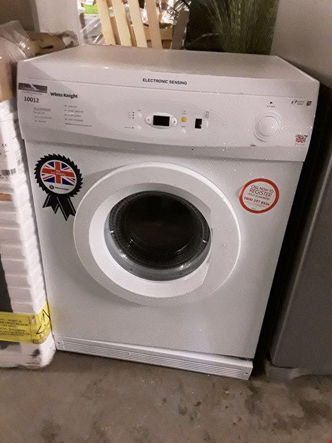 Lot 10012 WHITE KNIGHT WHITE 7KG ELECTRONIC SENSING FREESTANDING VENTED TUMBLE DRYER C86A7W RRP £190.00